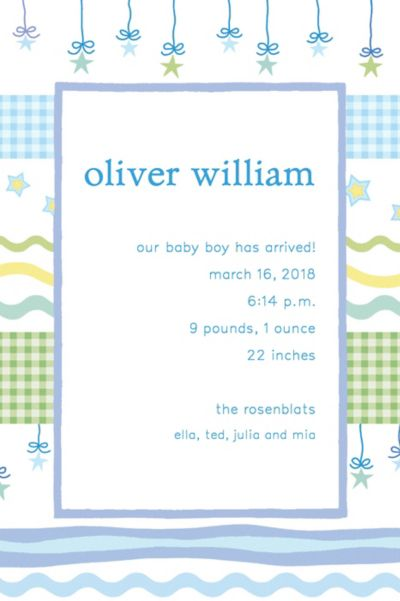 Custom Stars with Gingham Birth Announcements