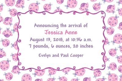 Pink Ladybugs Custom Birth Announcements