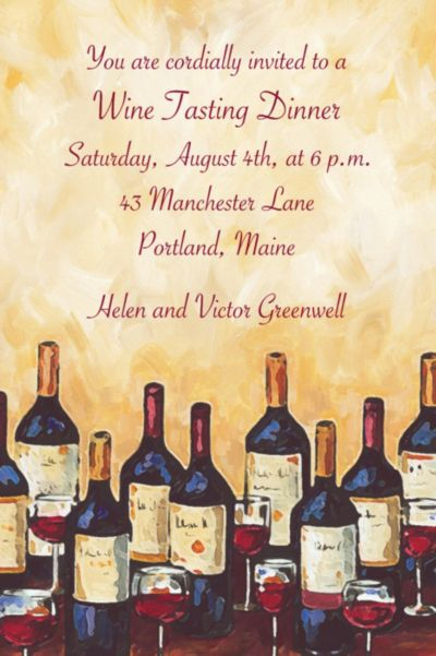 Custom Painterly Wine Tasting Invitations