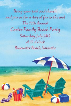 Custom Day at the Beach Summer Invitations