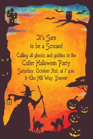Custom Witchy Halloween Motif Invitations