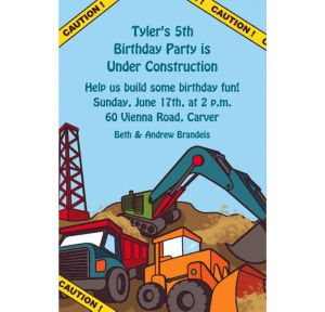 Custom Construction Site Invitations