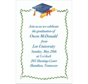 Custom Blue Mortarboard & Ivy Graduation Invitations