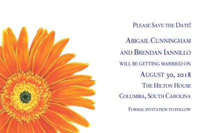 Giant Gerber Daisy Custom Invitation