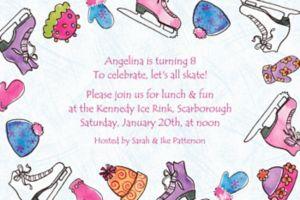 Custom Girl's Ice Skating Party Invitations
