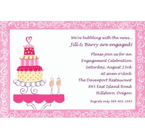 Custom Bridal Shower Cake & Champagne Bridal Shower Invitations