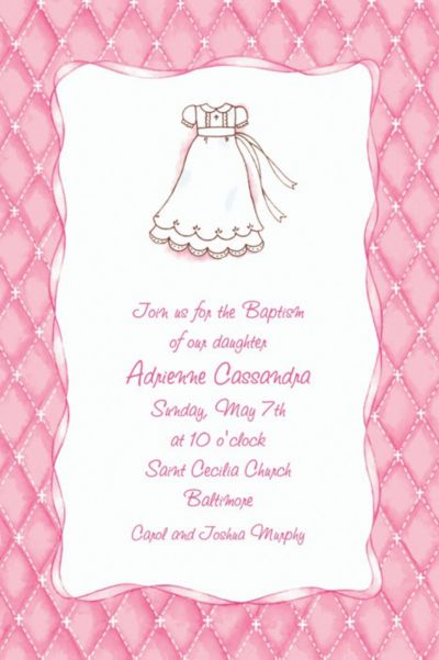 Cute Baptism Gown Custom Invitation