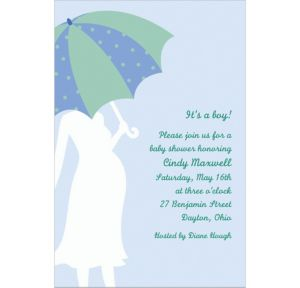 Custom Mommy with Umbrella Blue Baby Shower Invitations