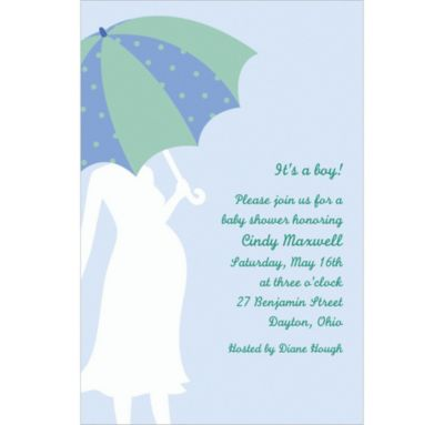 Mommy with Umbrella Blue Custom Baby Shower Invitation