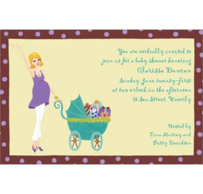 Custom Momma with Carriage Baby Shower Invitations
