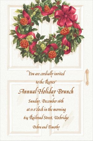 Custom Front Door with Wreath Christmas Invitations