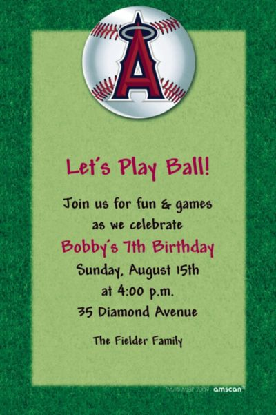 Custom Los Angeles Angels Invitations