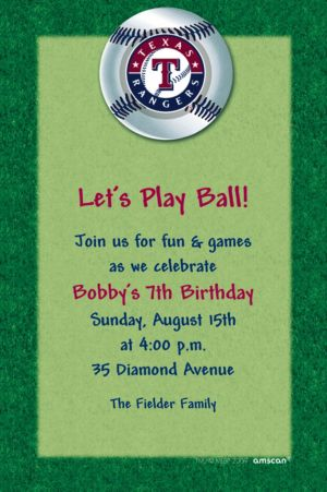 Custom Texas Rangers Invitations