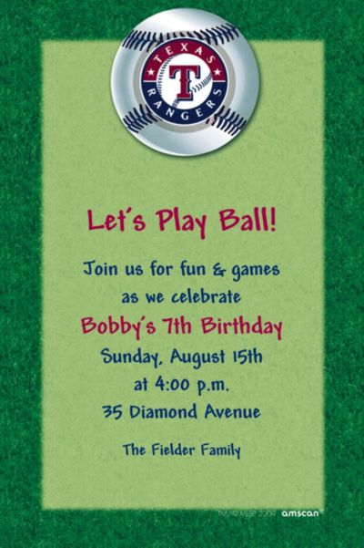 Custom Texas Rangers Invitations