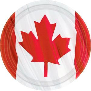 Waving Canadian Flag Lunch Plates 10ct