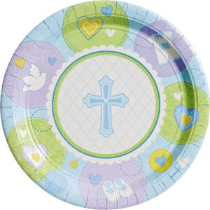 Blue Sweet Religious Dinner Plates 8ct