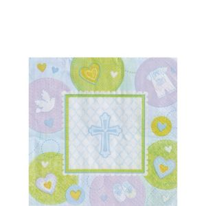 Blue Sweet Religious Beverage Napkins 16ct