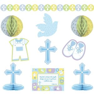 Blue Sweet Religious Room Decorating Kit 10pc