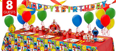 1st Birthday Elmo Super Party Kit for 8 Guests