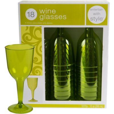 Avocado Premium Plastic Wine Glasses 18ct