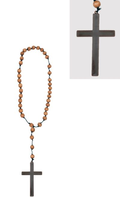 Wooden Beads with Monk Cross