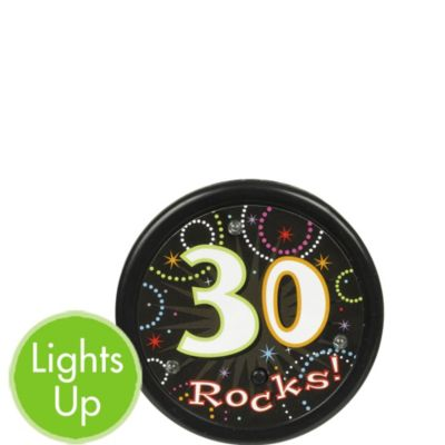 Light-Up Time to Party 30th Birthday Button