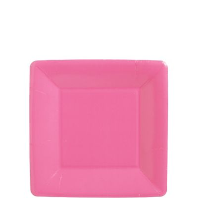 Bright Pink Paper Square Dessert Plates 20ct