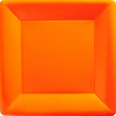 Orange Paper Square Dinner Plates 20ct