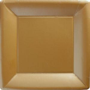 Gold Paper Square Dinner Plates 20ct