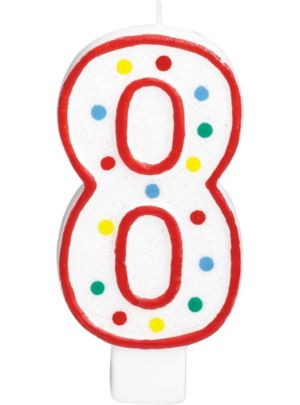 Giant Glitter Red Outline Number 8 Birthday Candle