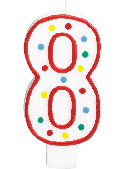 Giant Red Outline Glitter Polka Dot Number 8 Candle