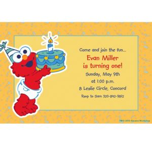 Custom Elmo First Birthday Invitations