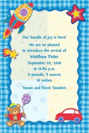 Custom Hugs & Stitches Boy Birth Announcements