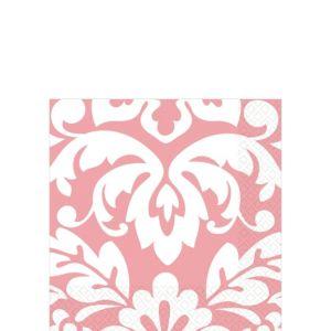 Pink Damask Beverage Napkins 16ct