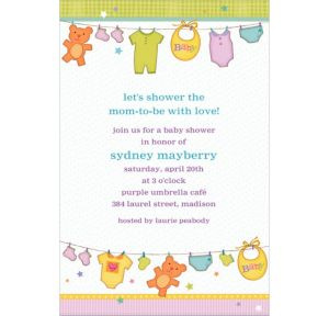 Custom Cuddly Clothesline Baby Shower Invitations
