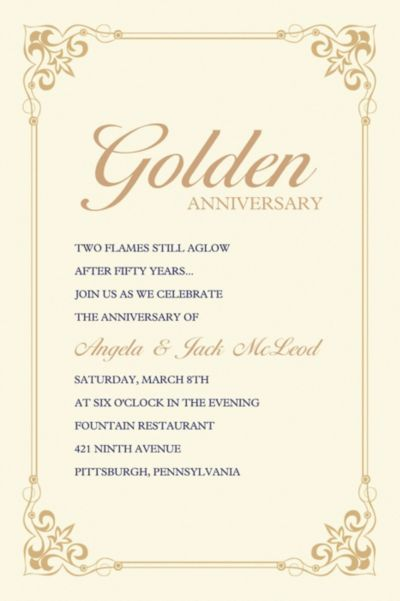 Flourish Corners Gold Custom Invitation