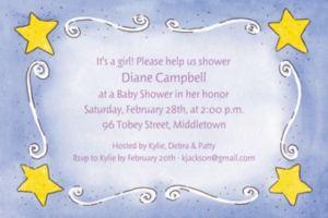 Custom Sweet Stars & Swirls Baby Shower Invitations