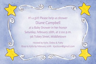 Custom Sweet Stars & Swirls Baby Shower Invitations
