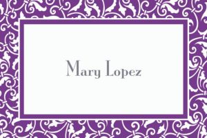 Custom Purple Ornamental Scroll Thank You Notes