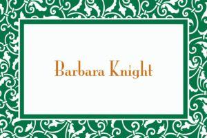 Custom Festive Green Ornamental Scroll Thank You Notes