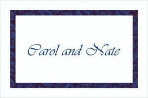 Custom Narrow Navy Damask Thank You Notes