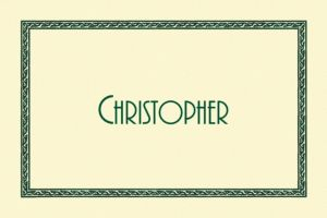 Custom Green Tapestry Border Ecru Thank You Notes