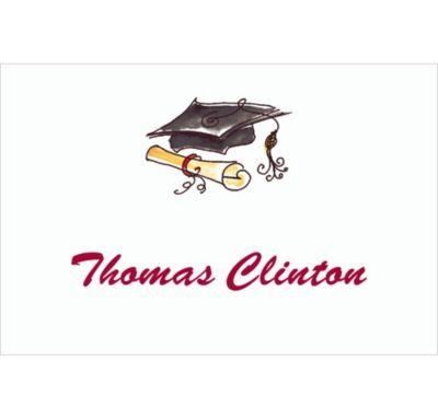 Black Fun Cap & Diploma Custom Thank You Notes