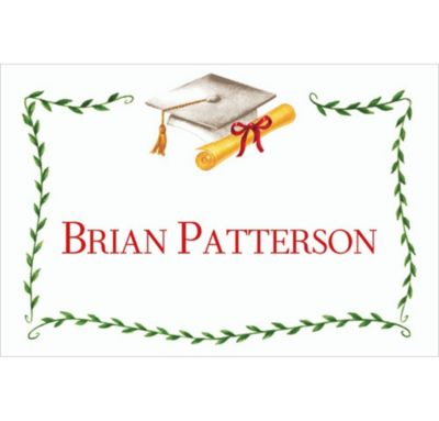 White Mortarboard & Ivy Custom Thank You Notes