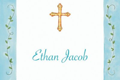 Filigree Cross with Vines Custom Thank You Note