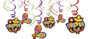Bright Fiesta Swirl Decorations 12ct