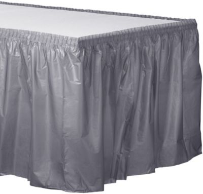 Silver Plastic Table Skirt