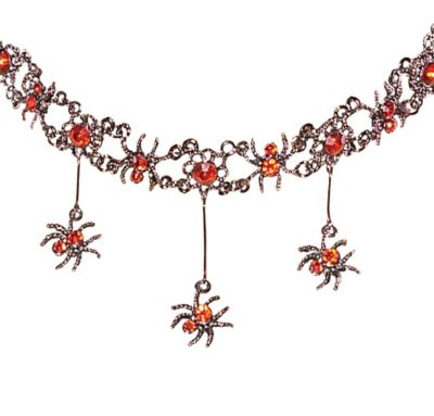 Red Gothic Spider Necklace