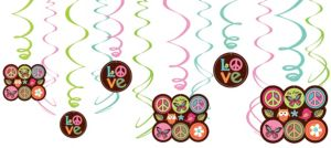 Hippie Chick Swirl Decorations 12ct