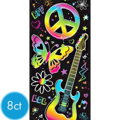Neon Doodle Paper Bags 8ct